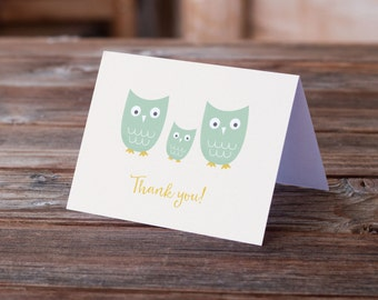 Owl Family Baby Thank You Notes