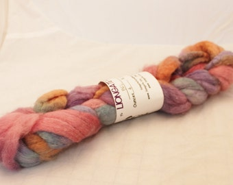 Roving, Wool, BFL Roving,  Blue Faced Leicester, Hand Painted Sunset#6