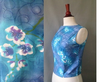 SALE..1950s Like New Blue Watercolor Sleeveles Blouse / Cotton / Rockabilly or Mad Men Style Pinup Glamour Sun top / size 4 / 6 Small