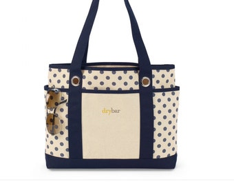 SALE - Personalized Bag Canvas Tote - Polka Dot, navy, turquoise, black
