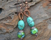 Vivid Green Hot Mint Lampwork Earrings