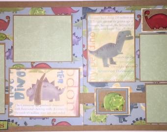 DINOSAURS 12 x 12 premade scrapbook layout - Brothers Boys Dinosaurs
