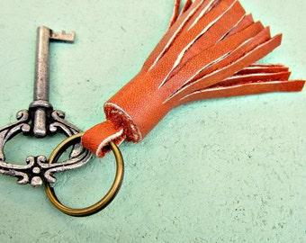 Chunky Tassel Keyring, Purse Embellishment with Salvaged Orange Leather: Vagabond