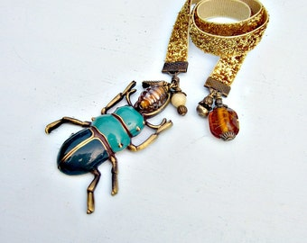 Glittered Gold Beaded Ribbon Bookmark with Enamel Beetle Accent: Scarab SECONDS