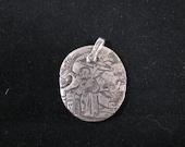 Pure Silver Oxidized Asian Peasant w/ umbrella pendant