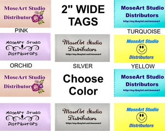 "2"" Wide COLORED GARMENT TAGS - Asst Colors & Sizes to Choose - Soft Satin -Sew in Labels - Personalized"