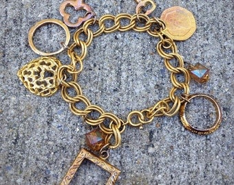 Queen Elizabeth Pence Coin Key To Your Heart Gold Tone Charm Bracelet