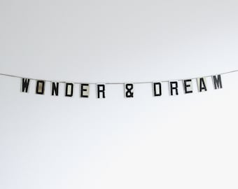 wonder & dream | vintage modern bunting | 3""