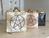 Pentacle Etched Mother of Pearl and Brass Vintage Pill Boxes Trinket Case