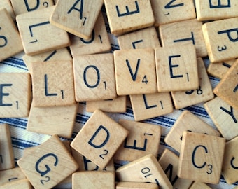100 wooden Scrabble tiles for repurposing upcycling mixed media jewelry projects supply pine