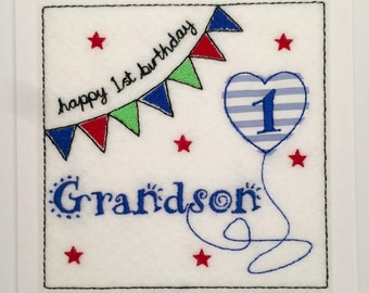 Bunting Birthday Card (Grandson) - Embroidered