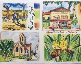 Artist Watercolor Print of Auvers sur Oise, Van Gogh's last residence by Carol Gillott