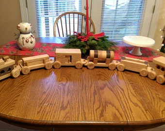 Train set 6 car Wooden Handmade toy Large oak and walnut Heirloom Quality  Beautifully hand finished. Ready to ship!