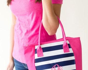 Navy & Pink Stripe Insulated Cooler- Lunch Bag-Personalized-Monogram-Cooler Bag-Cold Bag