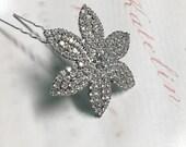Crystal  Hair Pin, Rhinestone Flower Wedding Headpiece, Bridal Hair Pin Accessory, Crystal Flower