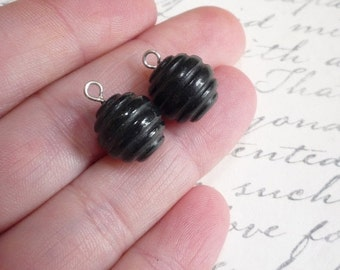 25% Off Sale Carved Black Spinel Briolette Beads 12mm Matched Pair With Eye Pins Top Half Drilled Drill