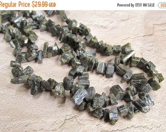 25% Off Sale Mystic Chrome Tourmaline Raw Beads,  Natural Green Gemstone Briolette Nugget 15 Inches