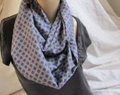Steel Blue Floral Cowl/Circle Scarf/Infinity Scarf (5368)