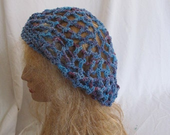 Blue and Purple Lacey Slouchy Beret/Tam/Dreadlock Hat (5274)