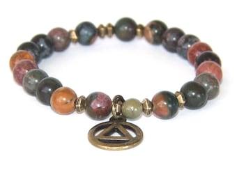 Man's 12 Step Recovery Bracelet, Jasper & Bronze Unity Symbol