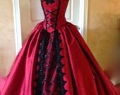 Gothic Victorian Backless Corset gown with Collar.  Custom size/color New Style!~