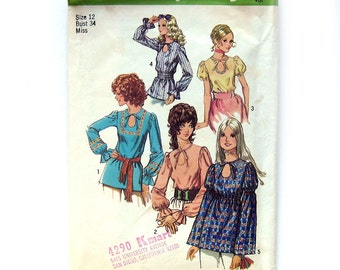 1970s Vintage Sewing Pattern/ Boho PEASANT Tops with Keyhole Neckline / Simplicity 9513 / Size 12