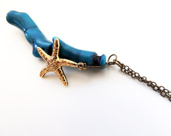 Blue Coral Necklace -- Gold Plated Starfish Charm -- Beach Themed Pendant -- Brass Chain -- UK Shop