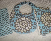 ON SALE Premium Quality 6-ply Burp Cloths and a Bib - Set of 2 Burp cloths and a Bib -Wall Flower Fabric by Amy Butler - Ready To Ship
