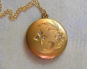 Antique Floral Locket Necklace, Gold Filled Locket Necklace, Edwardian Locket Necklace, Gift for Her (L161)