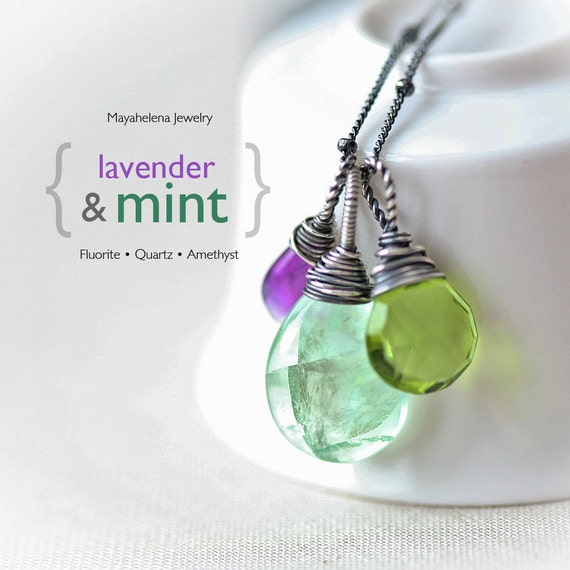 Gemstone Trio - Green Fluorite, Peridot Green Quartz and Purple Amethist Sterling Silver Wire Wrapped Necklace