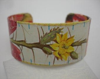Yellow Flower Bracelet  Decoupage Cuff Bracelet