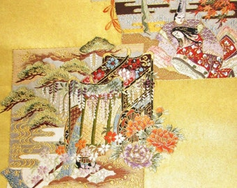 Vintage Japanese Kimono Obi Silk Piece with Real Gold Thread Brides Floral Wedding Carriage Wisteria Blossom Chrysanthemum and Attendants