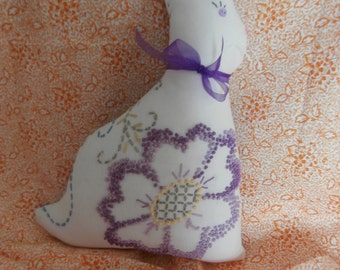VINTAGE EMBROIDERED LINEN Easter Bunny Rabbit stuffed toy pillow