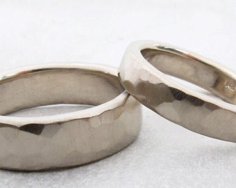 Recycled white gold Wedding bands hammered textures varying widths matching bands