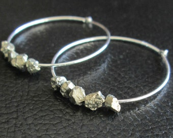 Rough Pyrite Earrings, Raw Crystal Jewelry, Sterling Silver Hoops, Boho Accessories