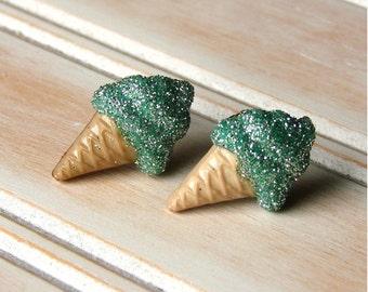 Miniature Fake Food Post Earrings - Super Sweet Seafoam Minty Green Swirl Studs