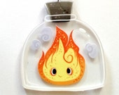 Fire Demon in a Bottle clear acrylic charm necklace