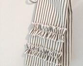 Black Ticking Stripe Hand Towel With Ruffles