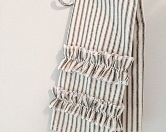 Black Ticking Stripe Hand Towel With Ruffles
