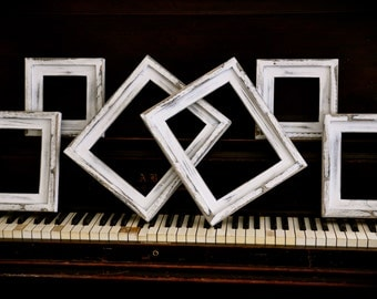 6 Piece Frame Collection 2) 8x10's ..  2) 5x7's .. and 2) 5x5's .. Stacked pine frames ...Distressed White...SHABBY CHIC