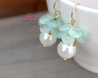 Wedding, bridal earrings  - fresh earrings with big white shell pearls and briolettes of mint Chalcedony