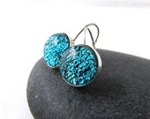 Bright Aquamarine Blue Earrings - Sterling Silver and Fused Glass Leverback Earrings - Blue Glass Earrings