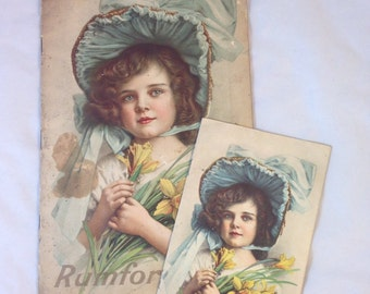 Two Rumford Baking Powder Cook Bookd from 1913, Young Girl in Blue Bonnet Holding Daffodils