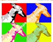 50% off Sale GREYHOUND note card, multi-colored card, greyhound stationary, flat greeting card, color block card, sighthound card