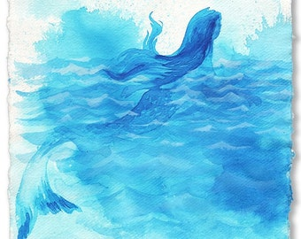 Mermaid- Carib Blue Mermaid- original painting by Gretchen Kelly