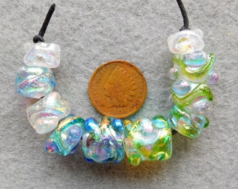 10 Assorted  Pastel Green Assorted Dichroic Lampwork Beads by Dee Howl Beads