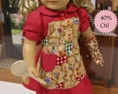 Gingerbread Cookies - Vintage styled dress, apron and oven mitt for American Girl doll **Sale**