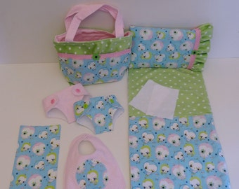 Bitty Baby Basics in Little Tweet - Diaper Bag and Diapers with Blanket and Pillow