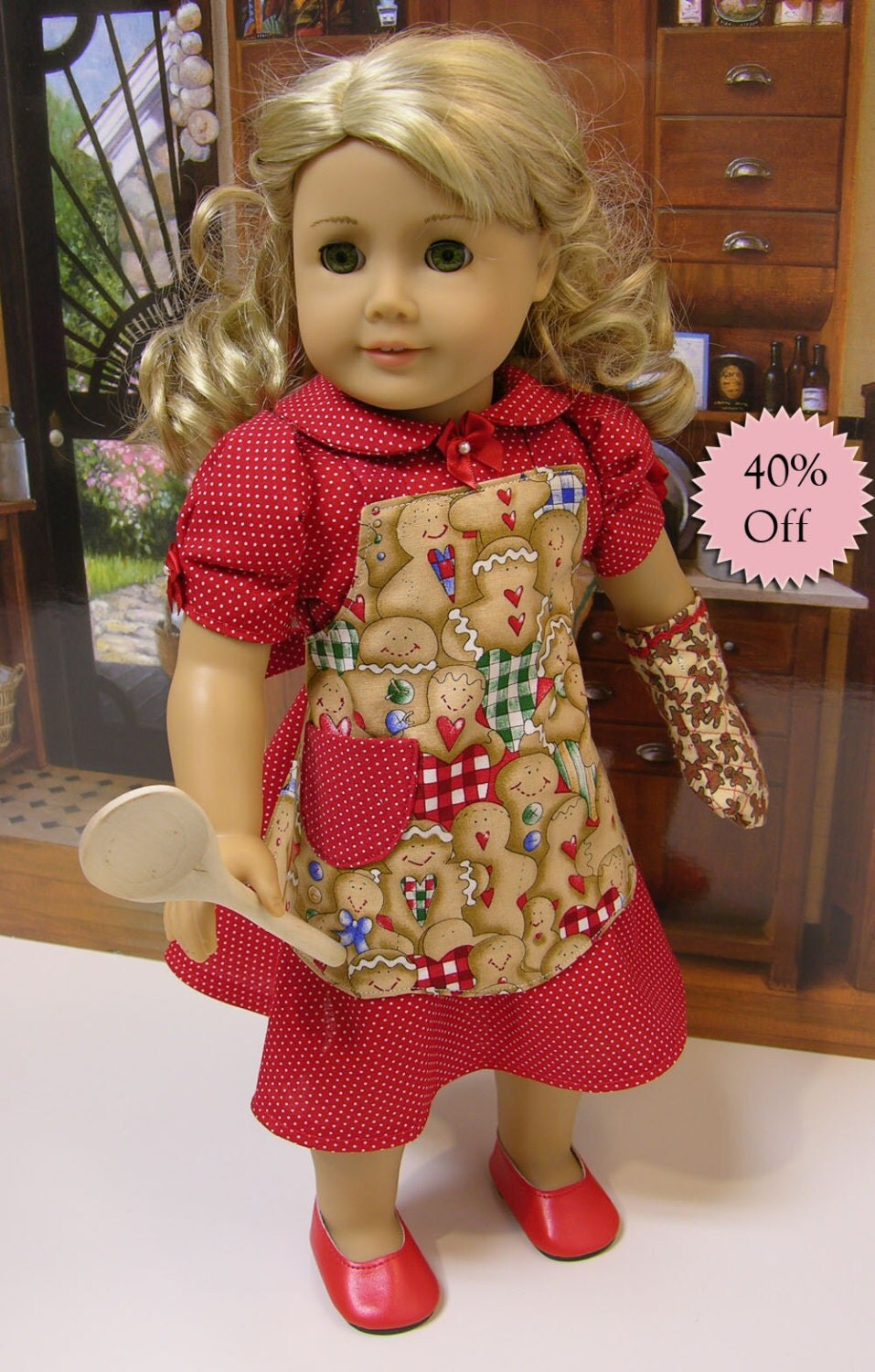 Gingerbread cookies vintage styled dress apron and oven