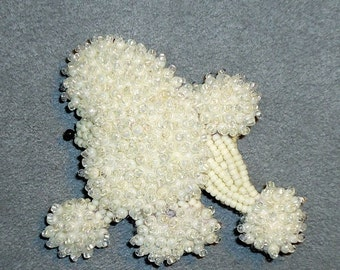 White MINIATURE POODLE beaded keepsake dog pin pendant art jewelry / Ready to Ship/ Free US Shipping